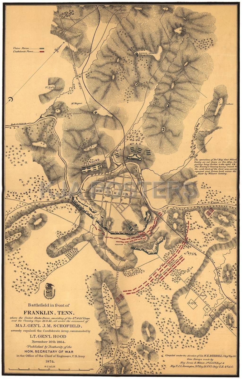 Civil War Battlefield Of Franklin Tennessee map | Products ...