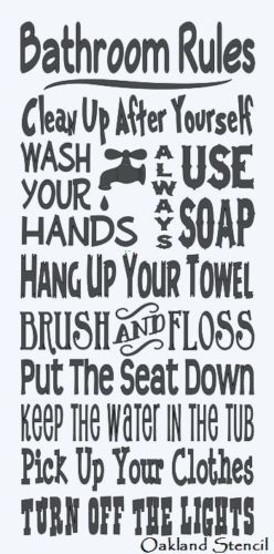 """Primitive Stencil**BATHROOM RULES**Typography Subway for Signs Large 12""""x 24"""""""