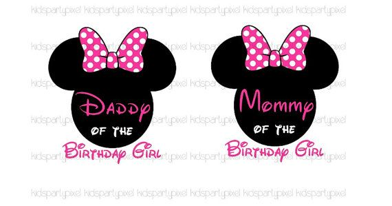 6b1a08c2 Mickey Mouse Iron On Tshirt shirt Transfer - Minnie Mouse Ears - Disney  Inspired Printable - Daddy Dad Mommy Mom of the Birthday Girl