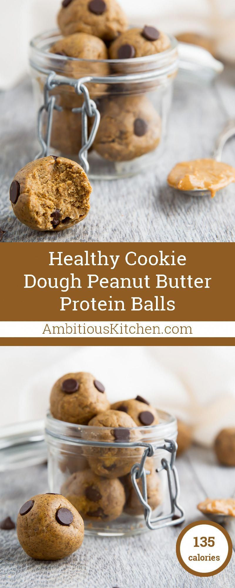 Amazing protein-packed peanut butter balls that taste like a peanut butter cup and cookie dough. No sugar added, grain free, gluten free and over 5g protein per ball! #proteincookiedough