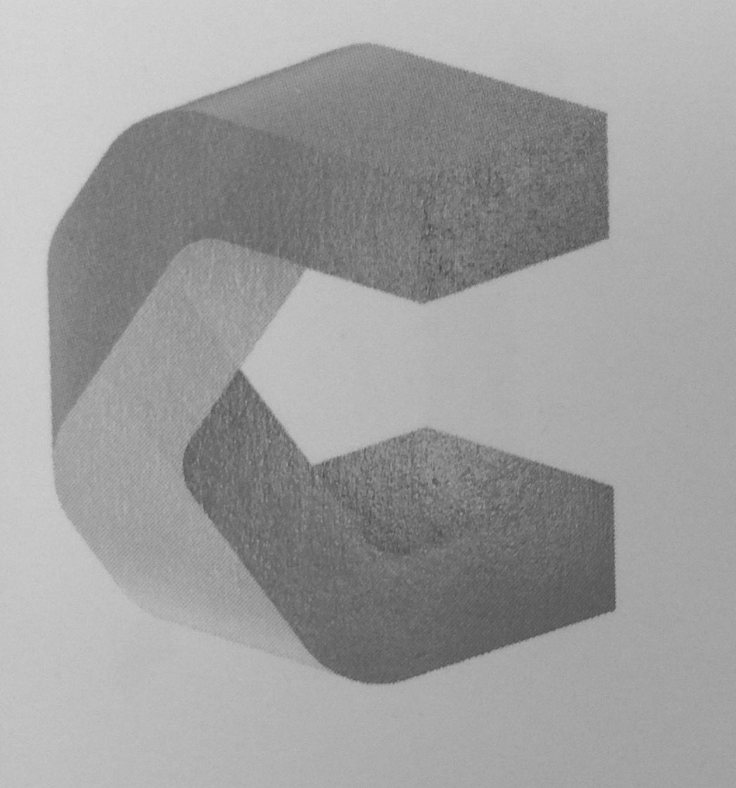 Letter C Logo Illusion Perspective D Block Texture Stone