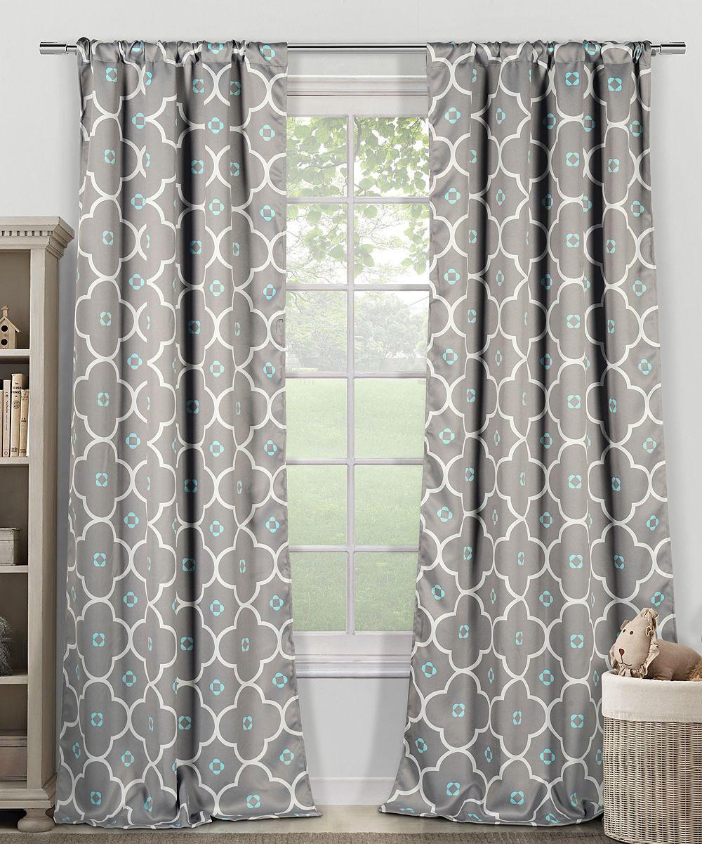 Gray Blue Quatrefoil Blackout Heavy Curtain Panel