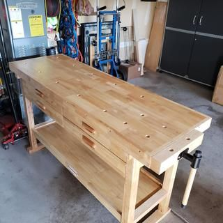 60 In 4 Drawer Hardwood Workbench In 2020 Woodworking Bench Plans Simple Workbench Plans Workbench Plans Diy