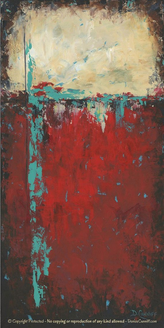 Wall Art Red red abstract art print, turquoise teal black, artwork, home decor