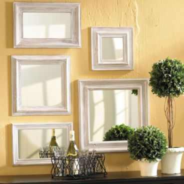 the collection of mirrors=same frames, different shapes. love the ...