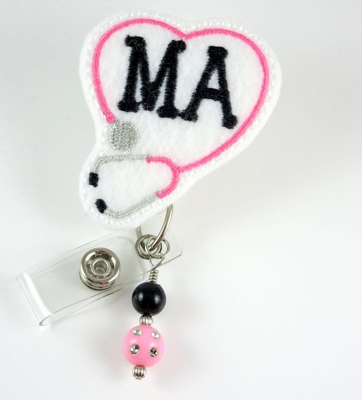 Amazon.com : MA Heart Stethoscope - Nurse Badge Reel ...