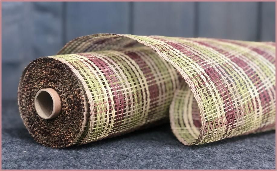 10 X 10 Yd Poly Burlap Striped Check Mesh Natural Burgundy Beige Moss Burlap Wreath Making Supplies Paper Mesh