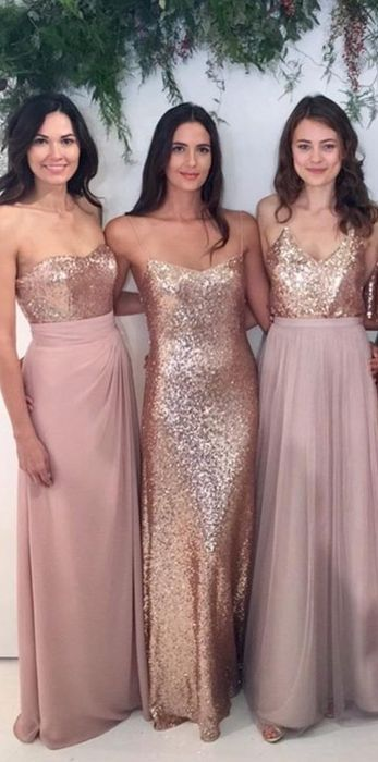Rose Gold And Dusty Rose Moh And Bridesmaids Dresses Mismatched Bridesmaid Dresses Blush Bridesmaid Dresses Gold Bridesmaid Dresses