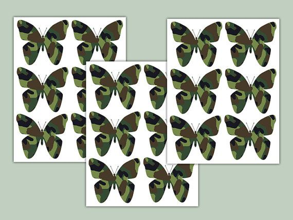 Camo Butterfly Decal Green Camouflage Girl Army Wall Art