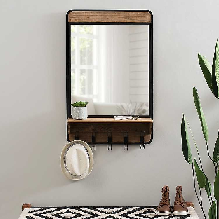 Industrial Wooden Wall Mirror With Shelf And Hooks Wall Mirror With Shelf Industrial Mirrors Entryway Mirror With Hooks