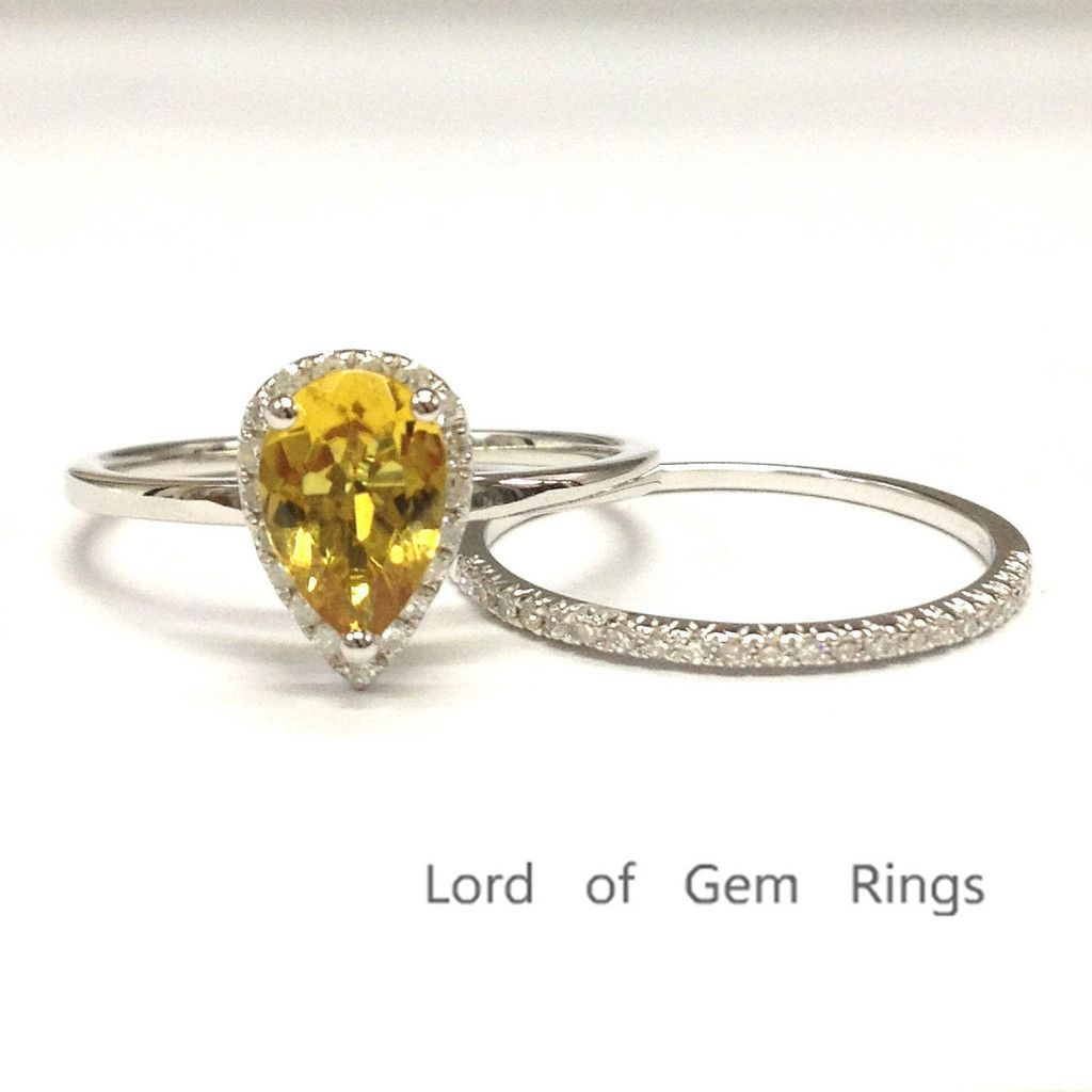 pear citrine engagement ring sets pave diamond wedding k