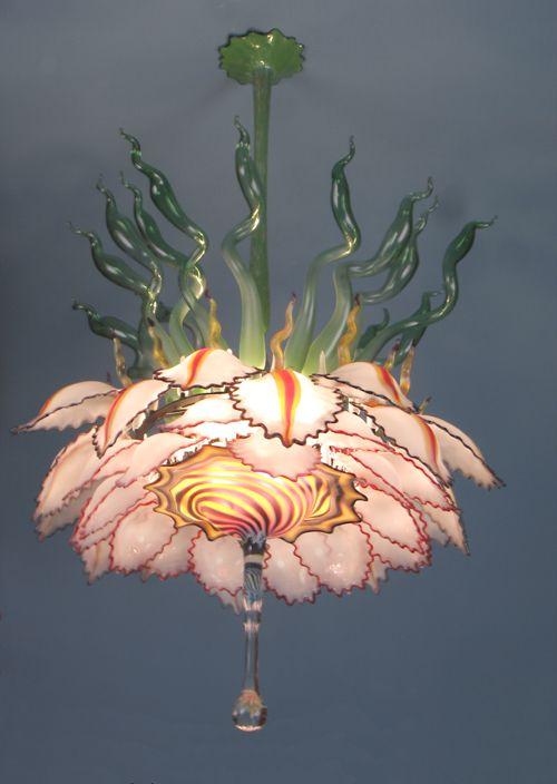 Fabulous Lotus Blown Glass Chandelier Hand Blown Glass