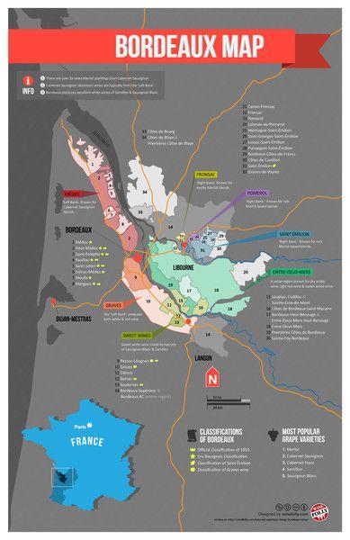 France Bordeaux Wine Map Vinum In Vino Veritas Reisen Und Karten