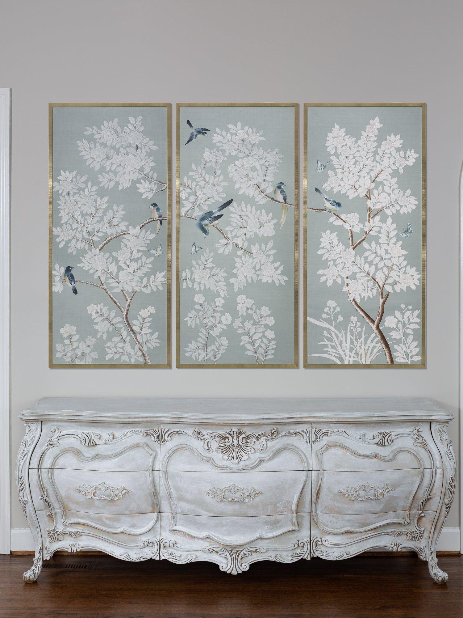 Framed Chinoiserie Panels Chinoiserie wallpaper, Framed