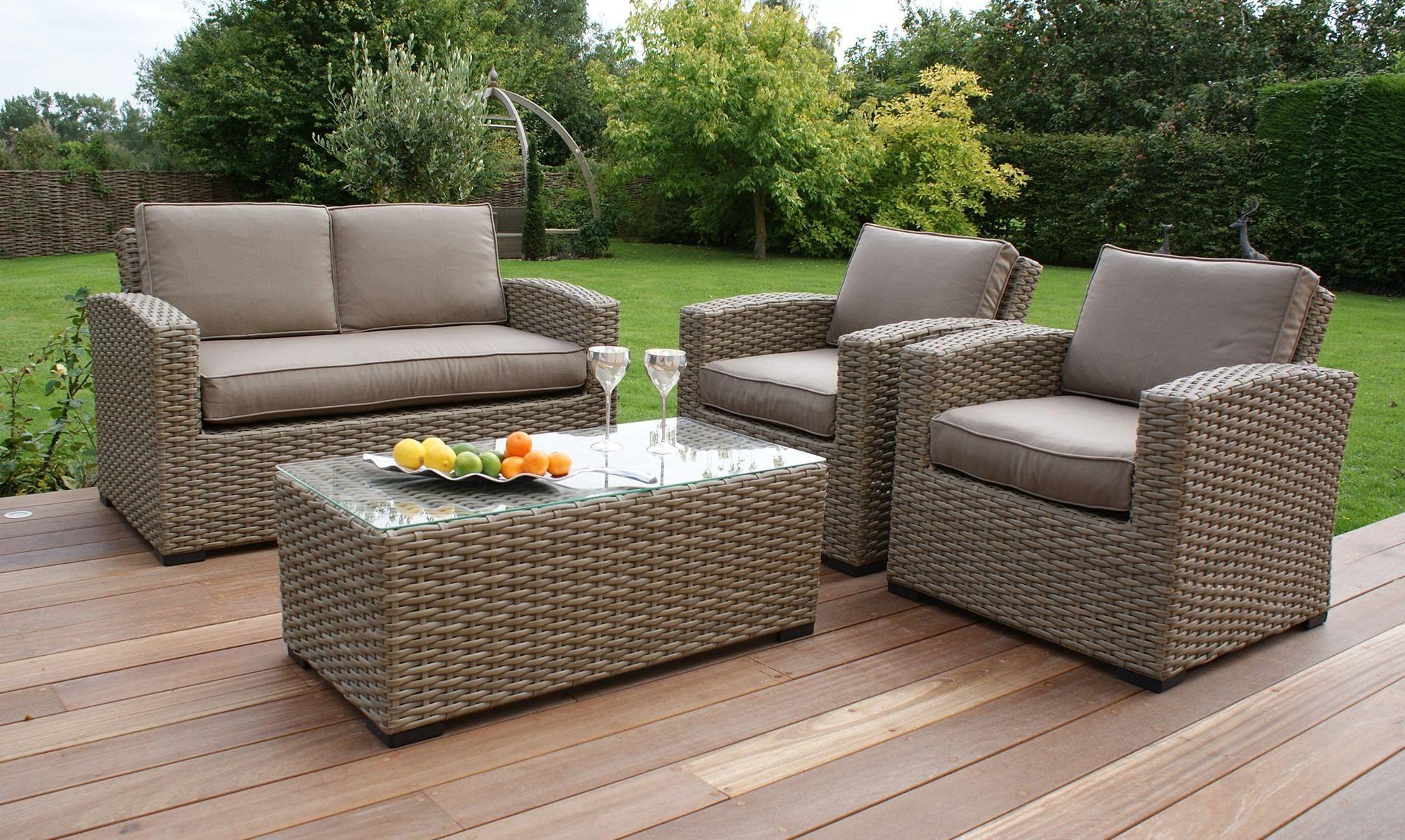 Durable outside rattan garden furniture Rattan Garden Sofa Set Uk