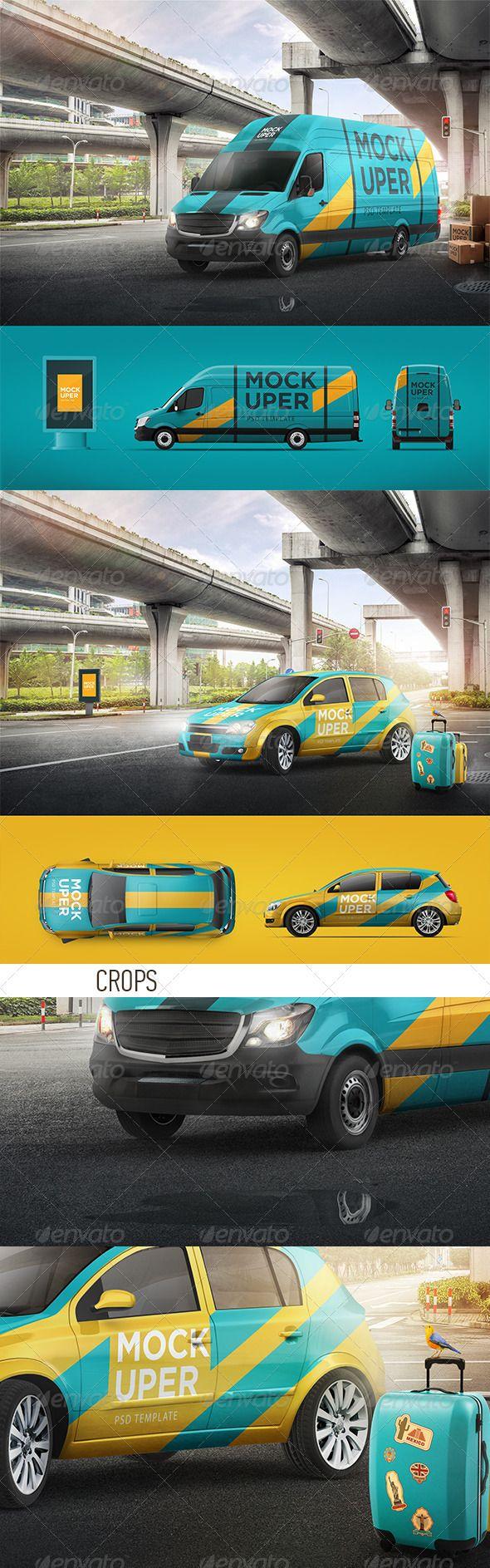 Car sticker design psd - Van Car Mock Ups 2 Psd