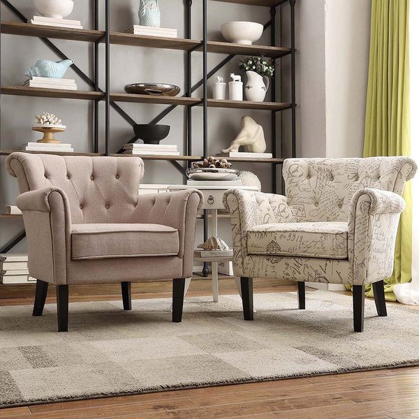 Asher Upholstered Buttontufted Rolled Arm Club Chair  Overstock Captivating Overstock Living Room Chairs Inspiration
