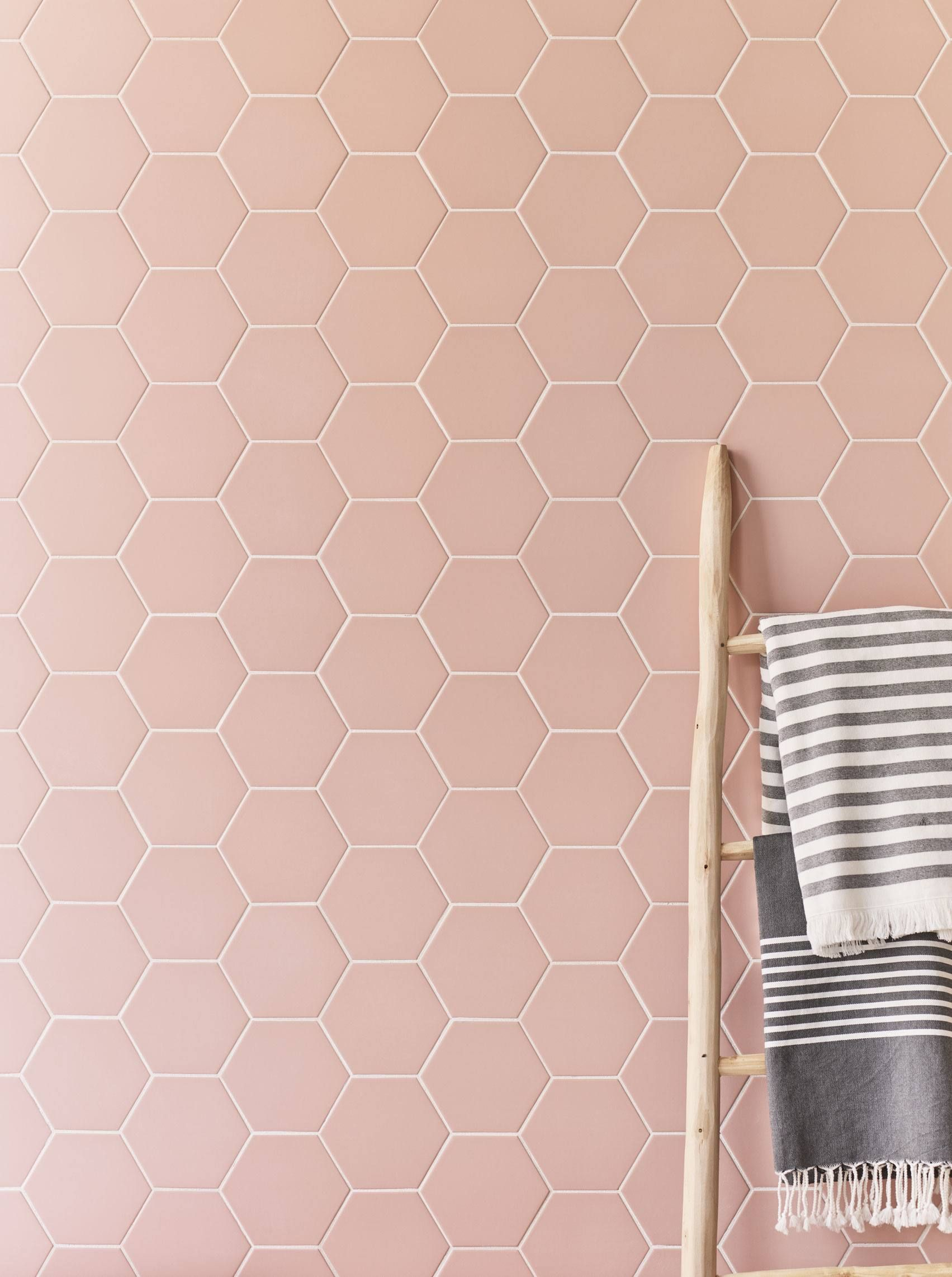 Hayek Hex Blush Bathroom Wall Tile Hex Tiles Bathroom Porcelain Flooring