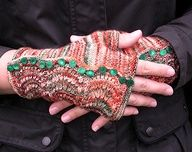 Image detail for -Spatterdah Wrist Warmers from Knitty. Knit flat mixing Feather & Fan ...