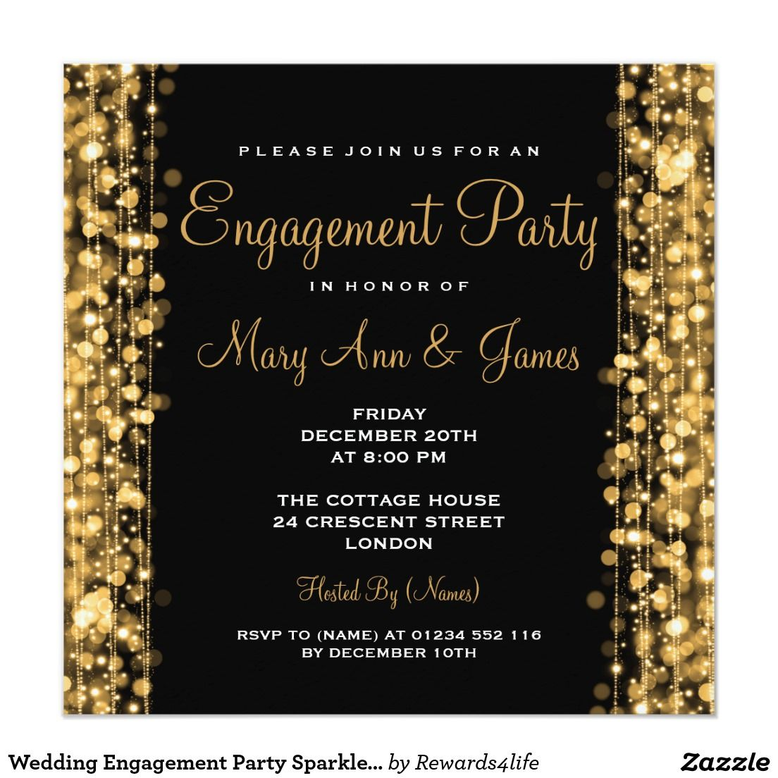 Wedding Engagement Party Sparkles Gold Card