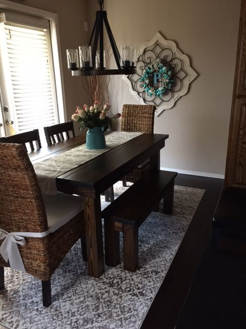 This 5 X 37 Farmhouse Table In Dark Walnut Stain With