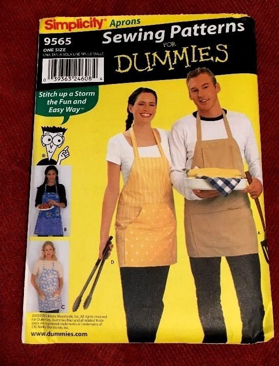 Misses Mens Apron Simplicity Pattern 9565 Uncut One Size 4 Sewing ...