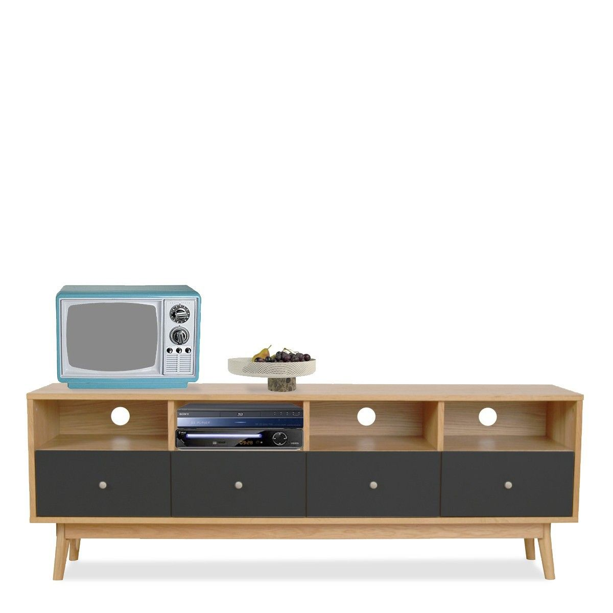 Meuble Tv Scandinave Anthracite Meuble Tv Design Scandinave 4 Tiroirs Skoll Gris Anthracite