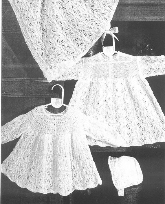 Knit Baby Dress Cardigan Shawl Vintage Knitting Pattern Christening ...