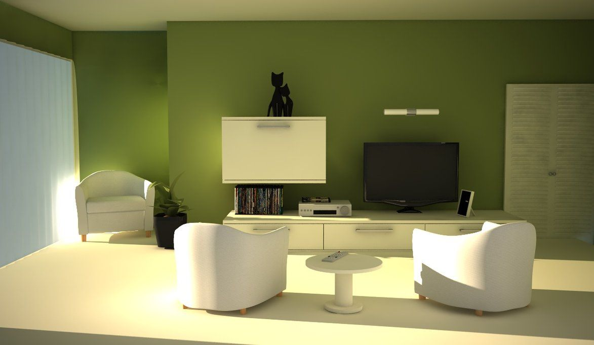 Bright-Green-Living-Room-Design-Ideas-With-Green-Wall-Decor-In ...