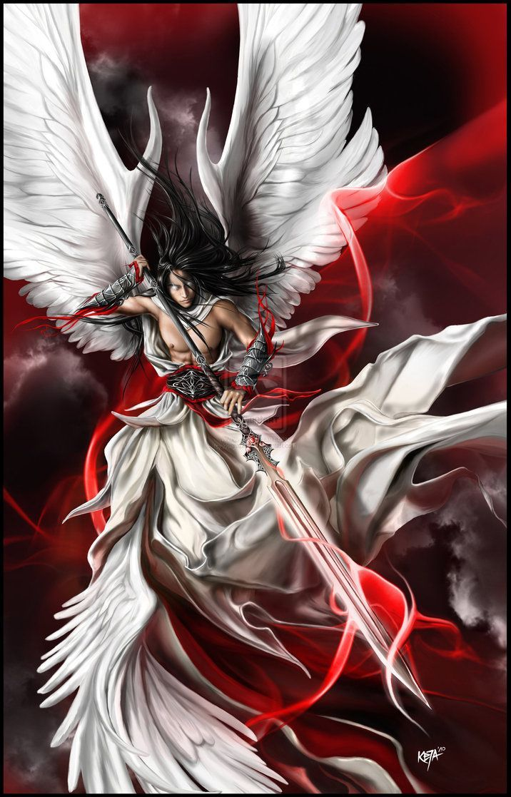 Collection of fan art images of angelic warriors and ...