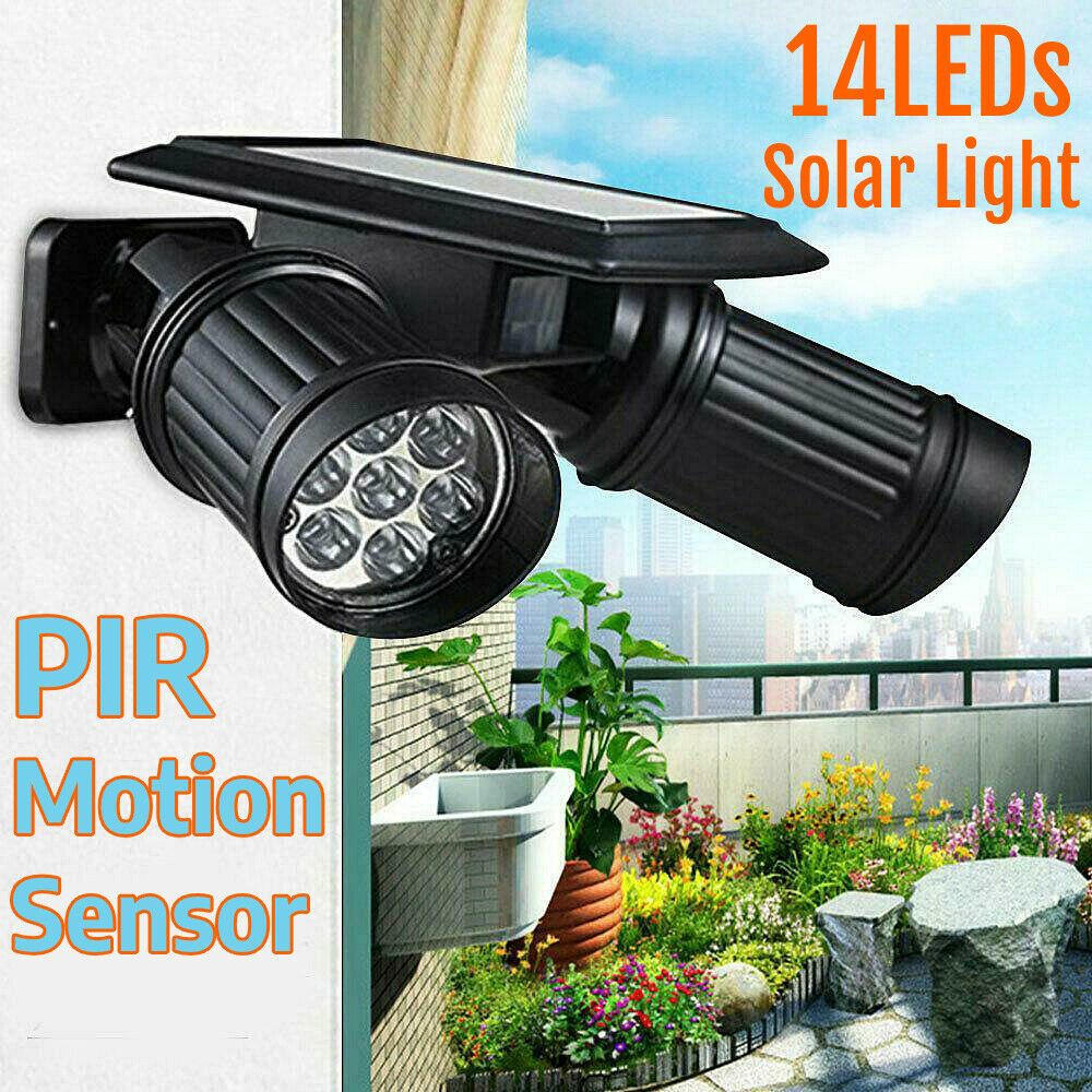 Outdoor 14led Dual Head Solar Powered Lights Pir Motion Sensor Spotlight Usa Wf In 2020 Solar Powered Yard Lights Solar Powered Lights Solar