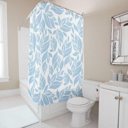 Sky Blue Leaves Shower Curtain