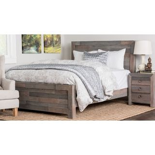 kosas home oscar distressed charcoal recovered shipping pallets hand crafted bed - Distressed Bed Frame
