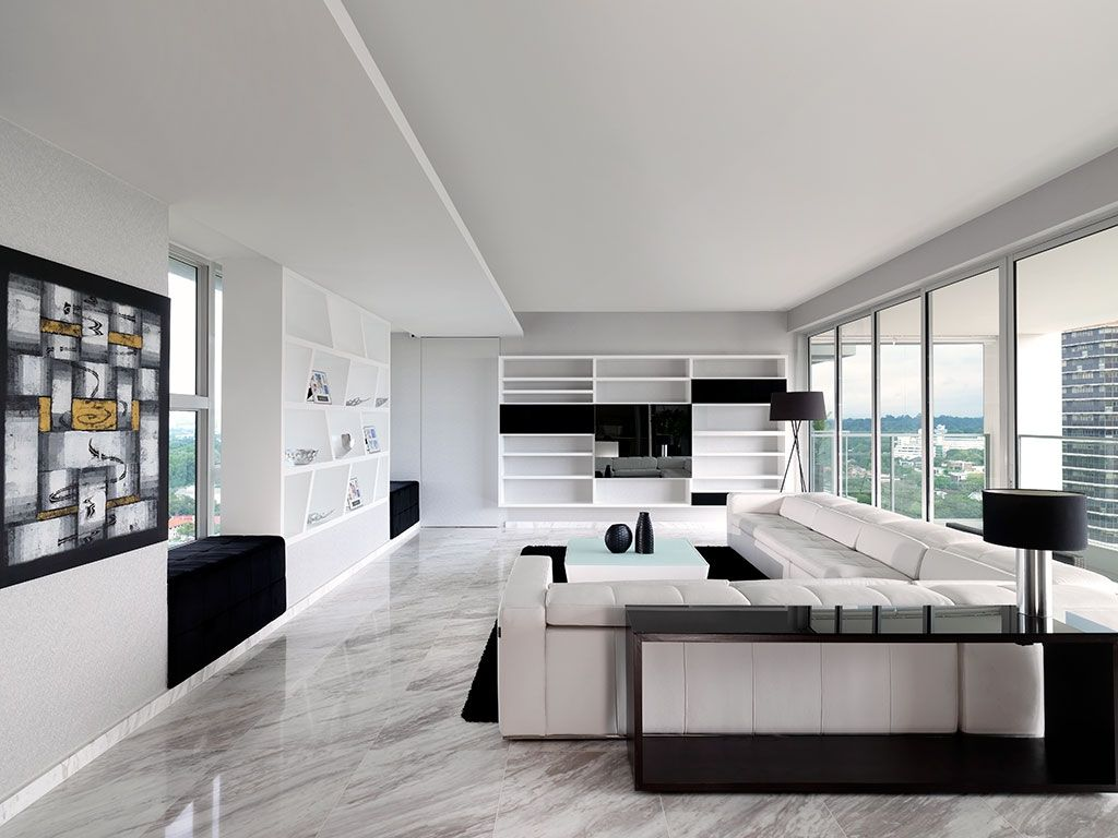 Ultra modern sky condo interior design black white schemes for Modern lounge decor