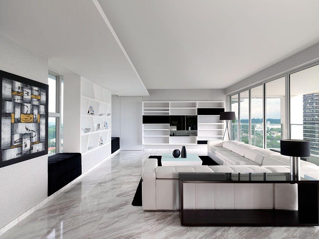 Ultra Modern Sky Condo Interior Design Black White Schemes