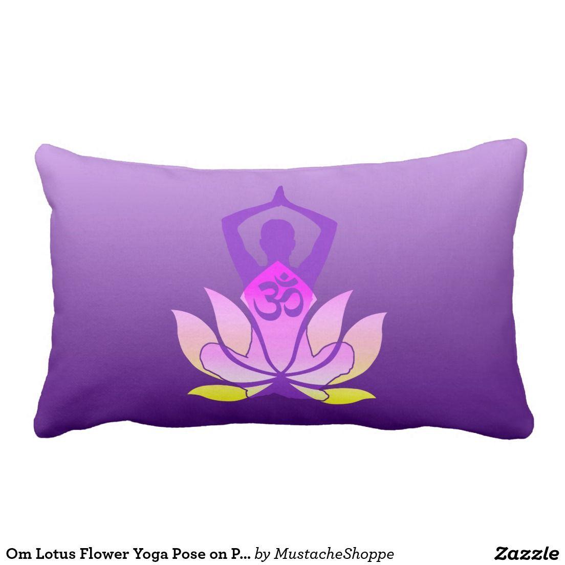 Om lotus flower yoga pose on purple gradient lumbar pillow mightylinksfo