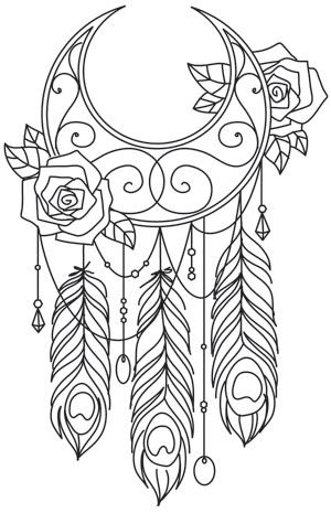 black and white dream catchers coloring pages | Wanderlust - By the Moonlight | Urban Threads: Unique and ...