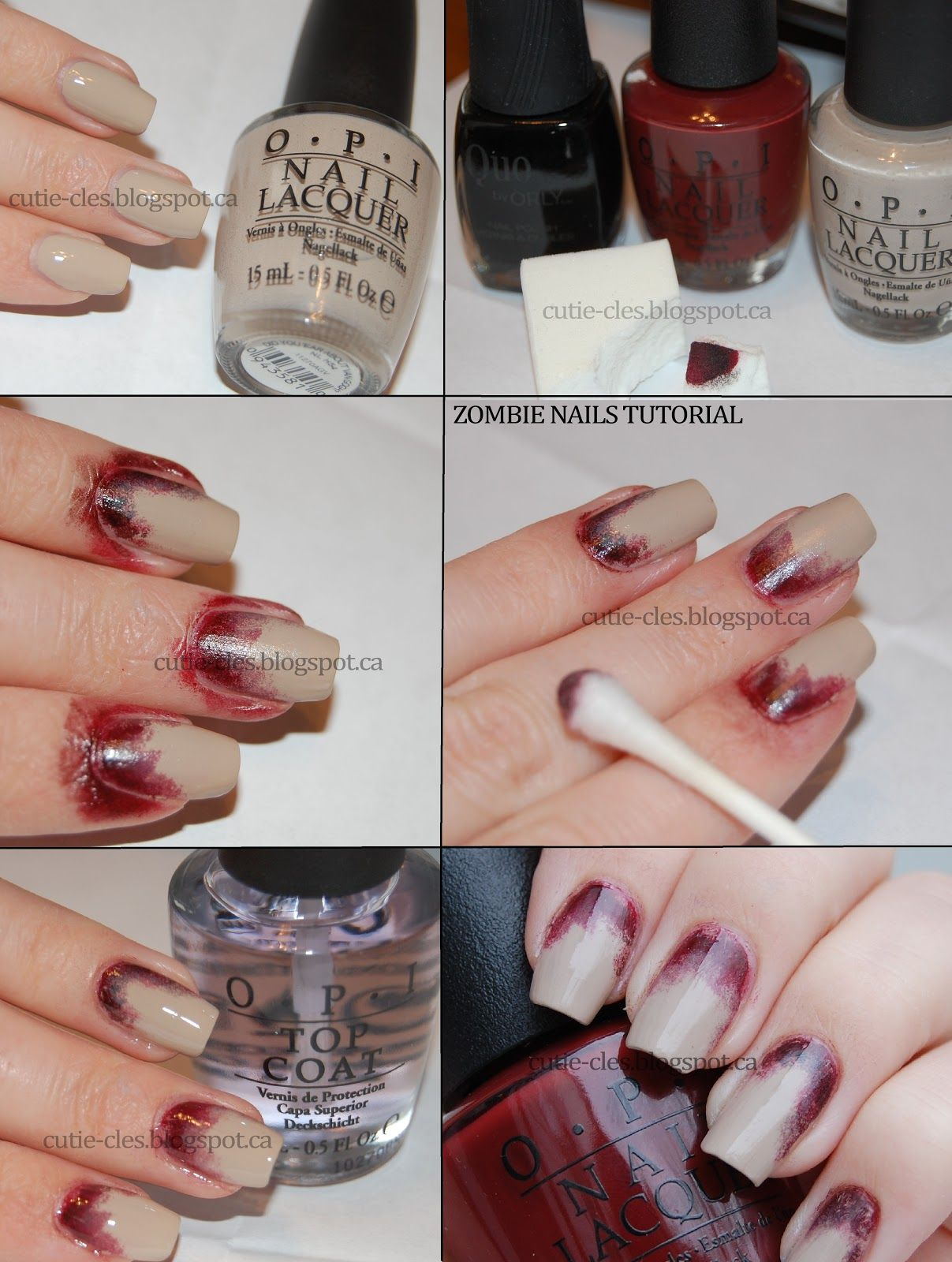 Tutorial for zombie nails | Costume inspirations | Pinterest ...