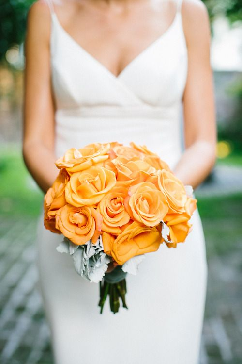 ORANGE! Wedding Flowers. Bridal Bouquet