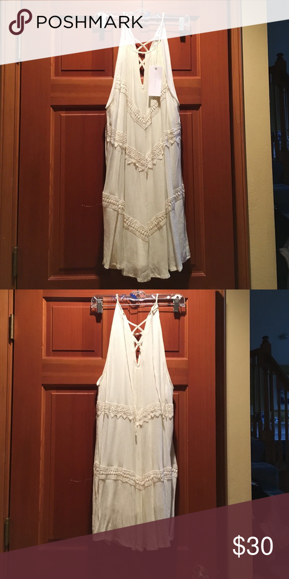 Lush Cream dress size M Cream three tiered dress, liner inside. Very flattering neckline and goes knee length. Great for someone with long legs. Lush Dresses Midi