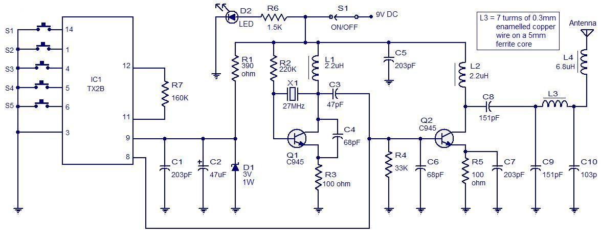 5 Channel Radio Remote Circuit Based Of Tx 2b Rx