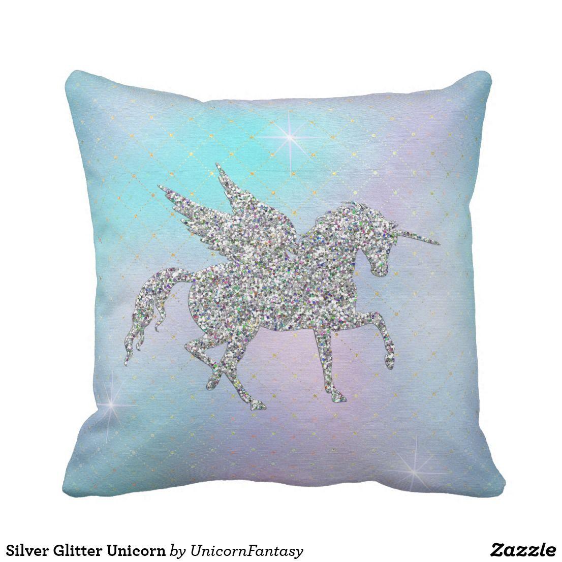 The Glittery World Of Silver Bedroom Ideas: Silver Glitter Unicorns On Pastel Throw Pillow