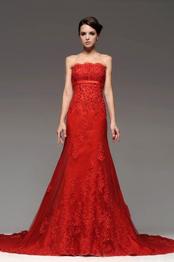 Flamboyant A Line Red Lace Chinese Wedding Dress Open Back