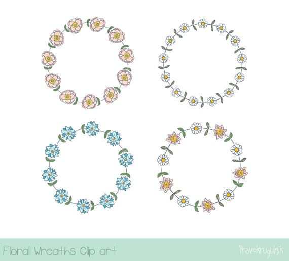 Pink Flower Wreath Clipart Cute Floral Border Blue Wedding Rustic