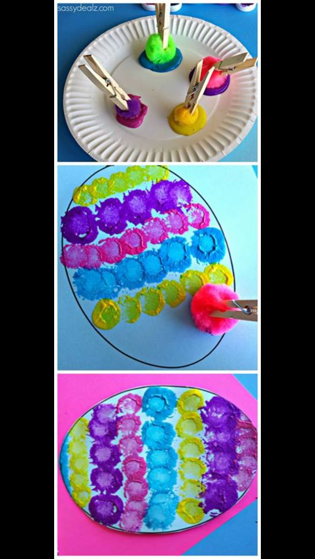 Pom Pom painted Easter egg Easter activities Pinterest - manualidades para hacer en casa