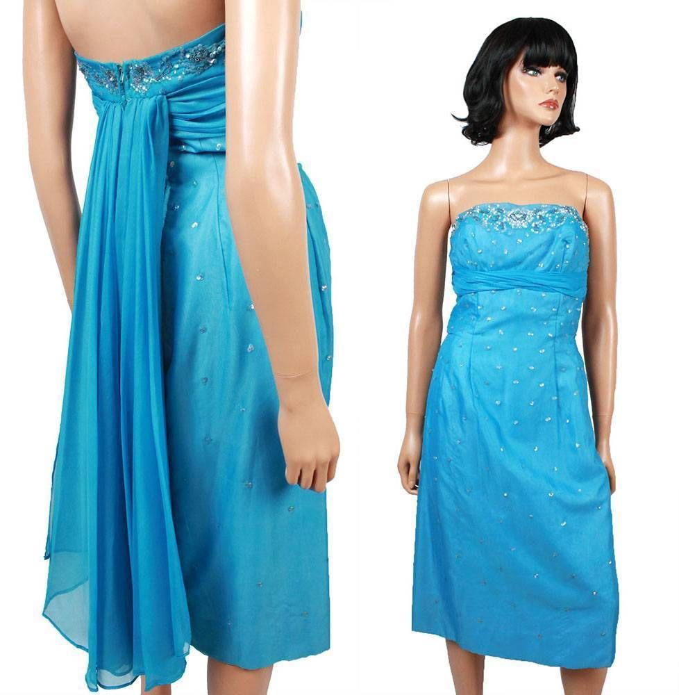 S s prom dress xs vintage strapless blue chiffon cocktail gown