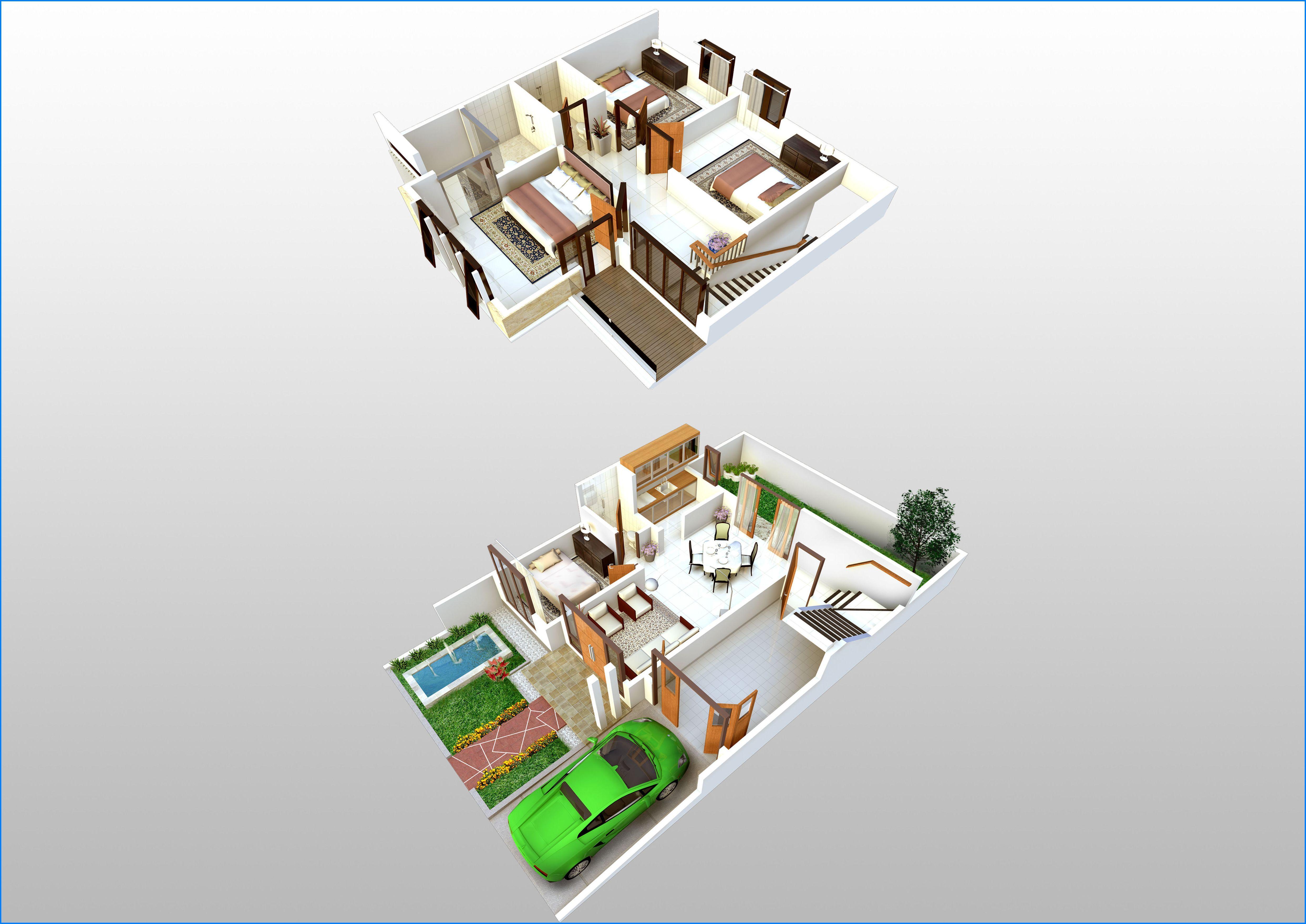 Denah rumah 2 lantai 3d rumah minimalis denah rumah 2 lantai pinterest dream house plans modern and house