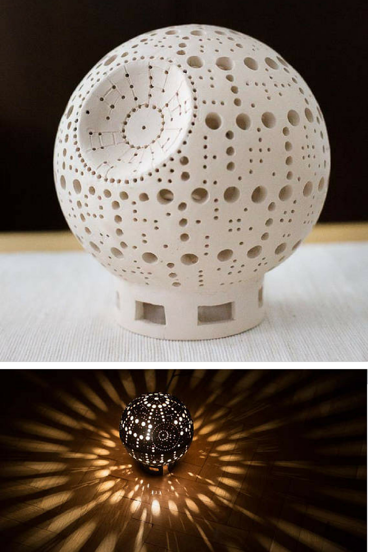 This Star Wars Death Star inspired ceramic lamp is gorgeous. Pretty ...