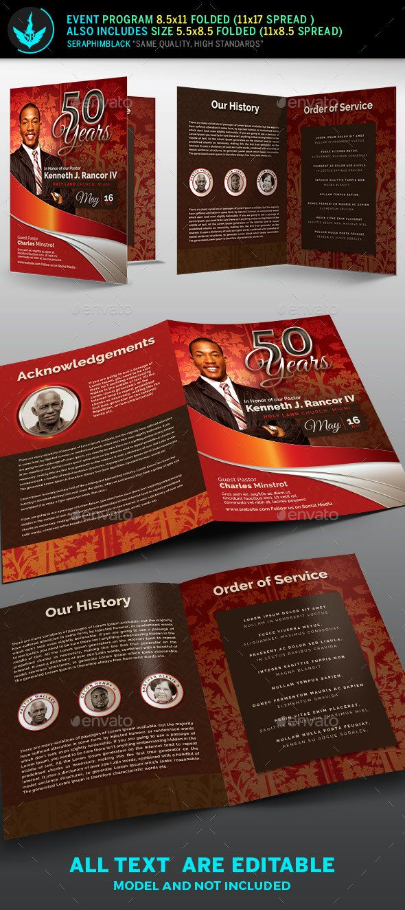 Crimson plus Silver Pastoru0027s Anniversary Church Program Template - event program template