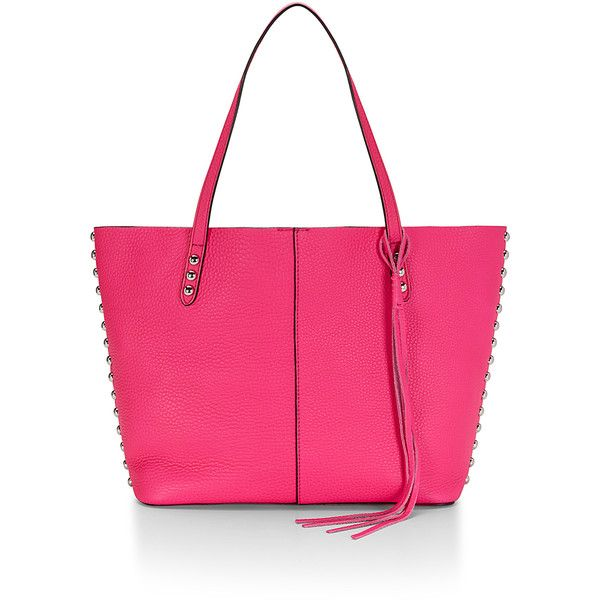 Rebecca Minkoff Unlined Tote (€250) ❤ liked on Polyvore featuring bags, handbags, tote bags, leather tote handbags, pink leather handbag, tote handbags, pink leather purse and leather handbags